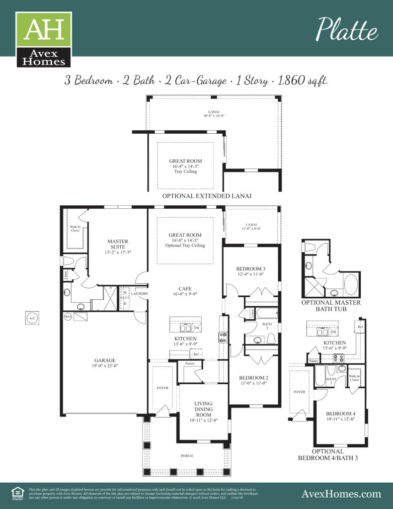 Platte floor plan features, standard and optional choices depicted in this construction drawing.