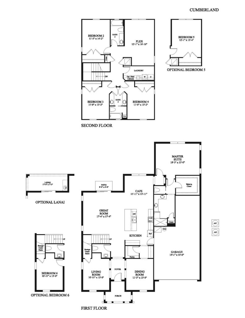 The Cumberland floor plan blueprint drawing for a new home in many Avex Homes communities in Central Florida.