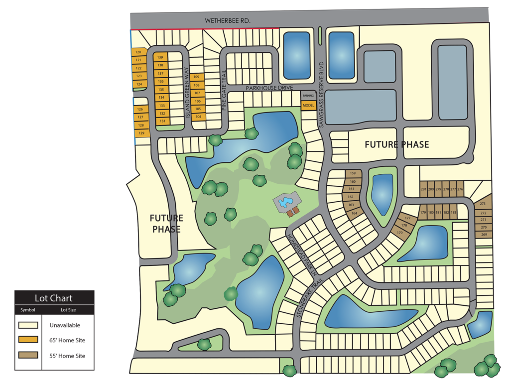Central Florida site plan for available houses in the new community of Reserve at Sawgrass