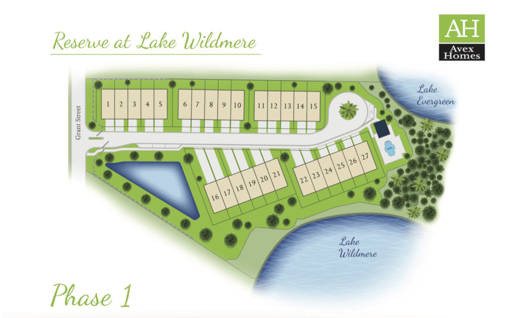 Site plan of homes available at Lake Wildmere. Contact us today to see which lot can be yours.