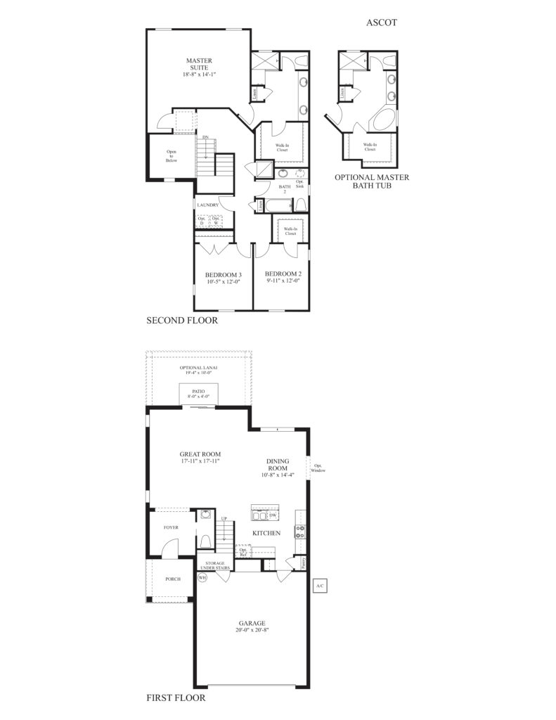 Archetectural drawing of the Ascot floor plan available at Mirror Lake in Fruitland Park. Drawing depicts new home design of this particular floor plan.