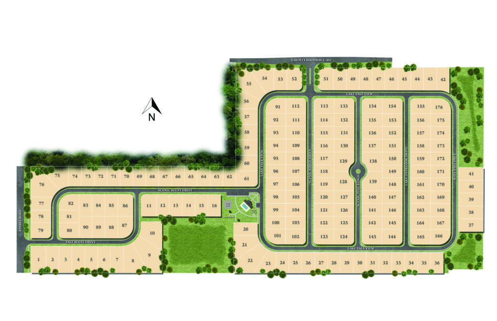 A site plan of available new home lots at Windy Ridge located in Grand Island FL.