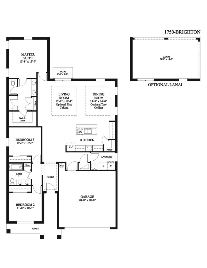 Blueprint of bedrooms, kitchen and more of the Brighton floor plan including measurements for rooms and available space in this new home.