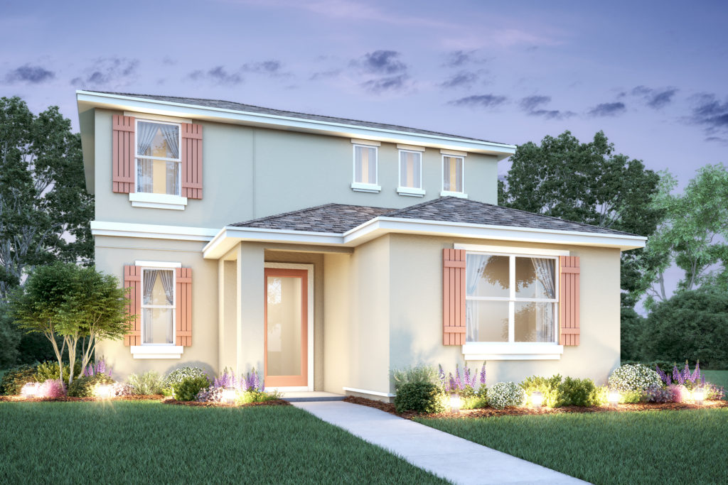 Artist rendering of the exterior of the elevation A Hawthorne floor plan in an Avex Homes community, Parkview at Lakeshore.