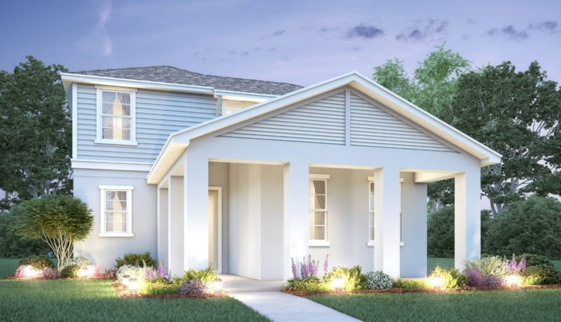 Artist's rendering of a new home in Parkview at Lakeshore built as elevation B of a Hawthorne floor plan. An Avex Homes exclusive new home.
