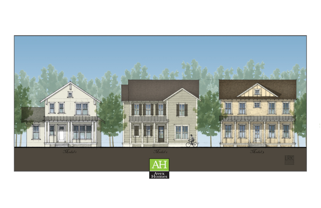 Artist's drawing of homes that will be available in Winter Park, FL built by Avex Homes