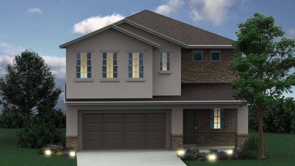 Artist's rendering of the exterior of a new home built in Casselberry, FL at Greenville Commons.