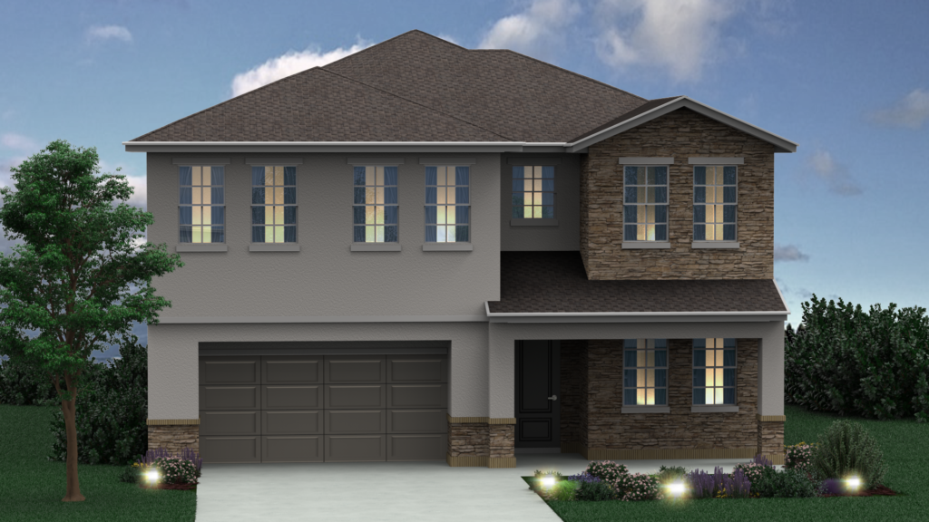 Artist drawing of Charlotte floor plan new home exterior built as elevation A at Greenville Commons.