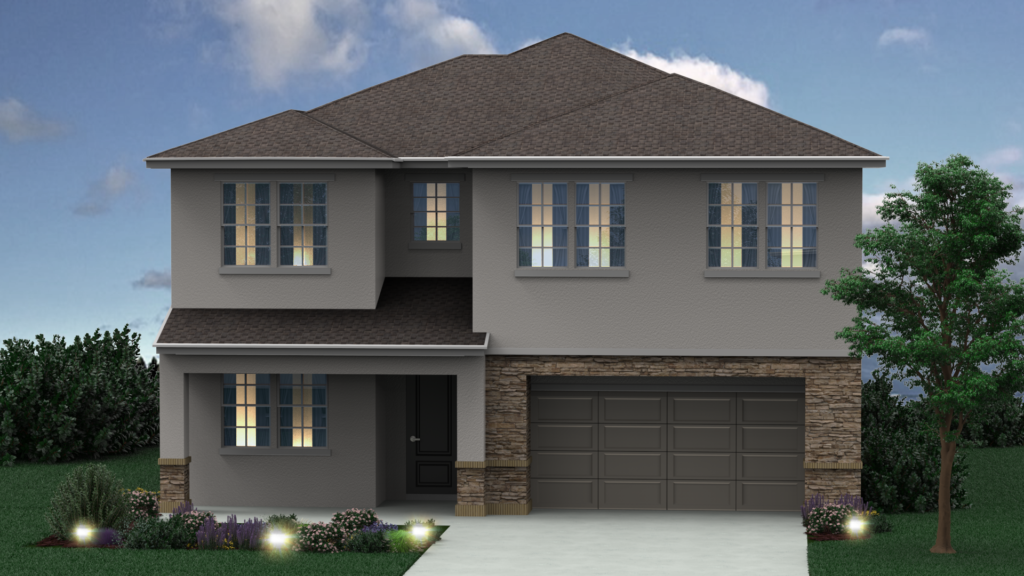 Rendering of new house built with Charlotta floor plan, Elevation B in Casselberry FL