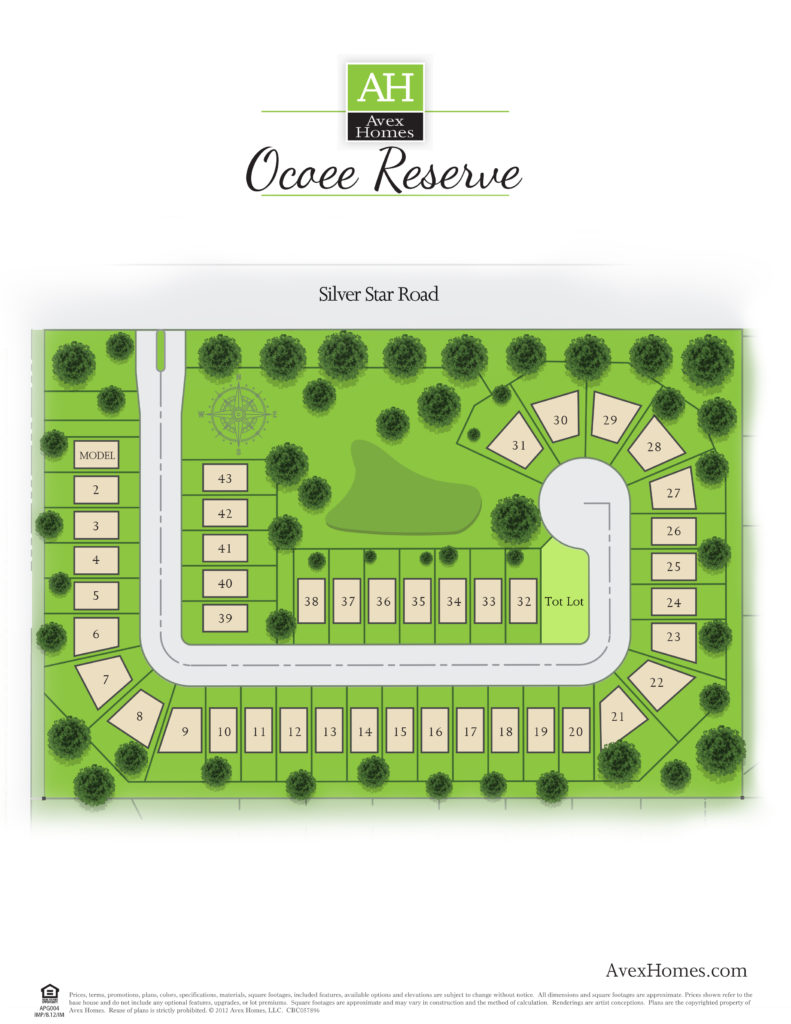 Overall site map of the community in Ocoee, FL, showing homesites, streets and amenities at the Ocoee Reserve community by Avex Homes