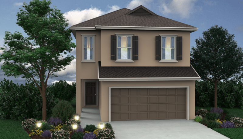 The Wellington floor plan is visualized in this picture with the 'B' elevation shown. This new home is available at Chelsea Park in Davenport, FL by Avex Homes.