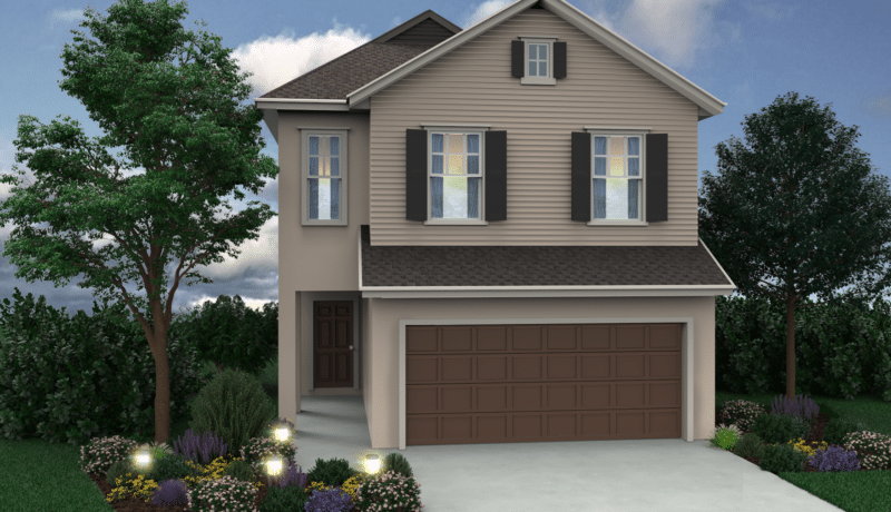 Two-story new home in Chelsea Park. This artist's rendering is of the new home built as a Wellington elevation C.