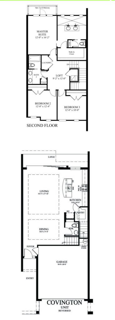 2D architectural drawing of the Covingtion floor plan available by Avex Homes depicting bedrooms, bathrooms and more of the included layout.