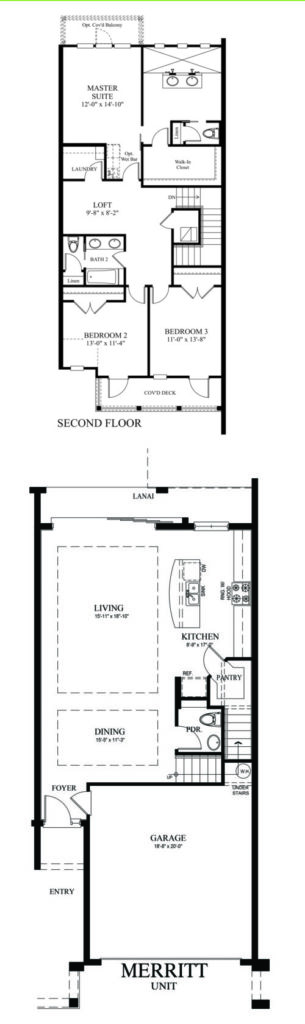 Artist drawing of the rooms in the Merrit floor plan including the 2 story design and optional add-ons for the new home.