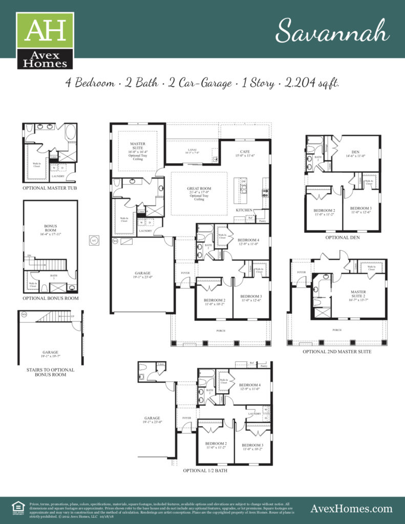 Construction drawing of the Savannah floor plan available throughout communities at Avex Homes in Central Florida for new homes.