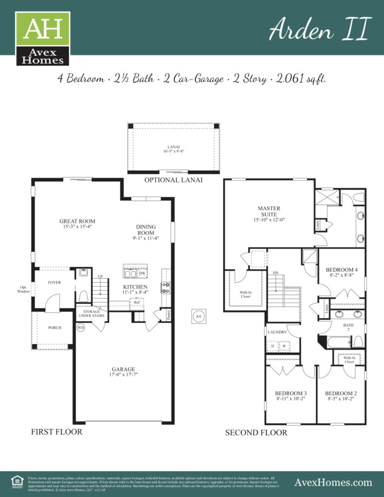 The Arden II room dimensions and general blueprint from this new home once built by Avex Homes in Central Florida.