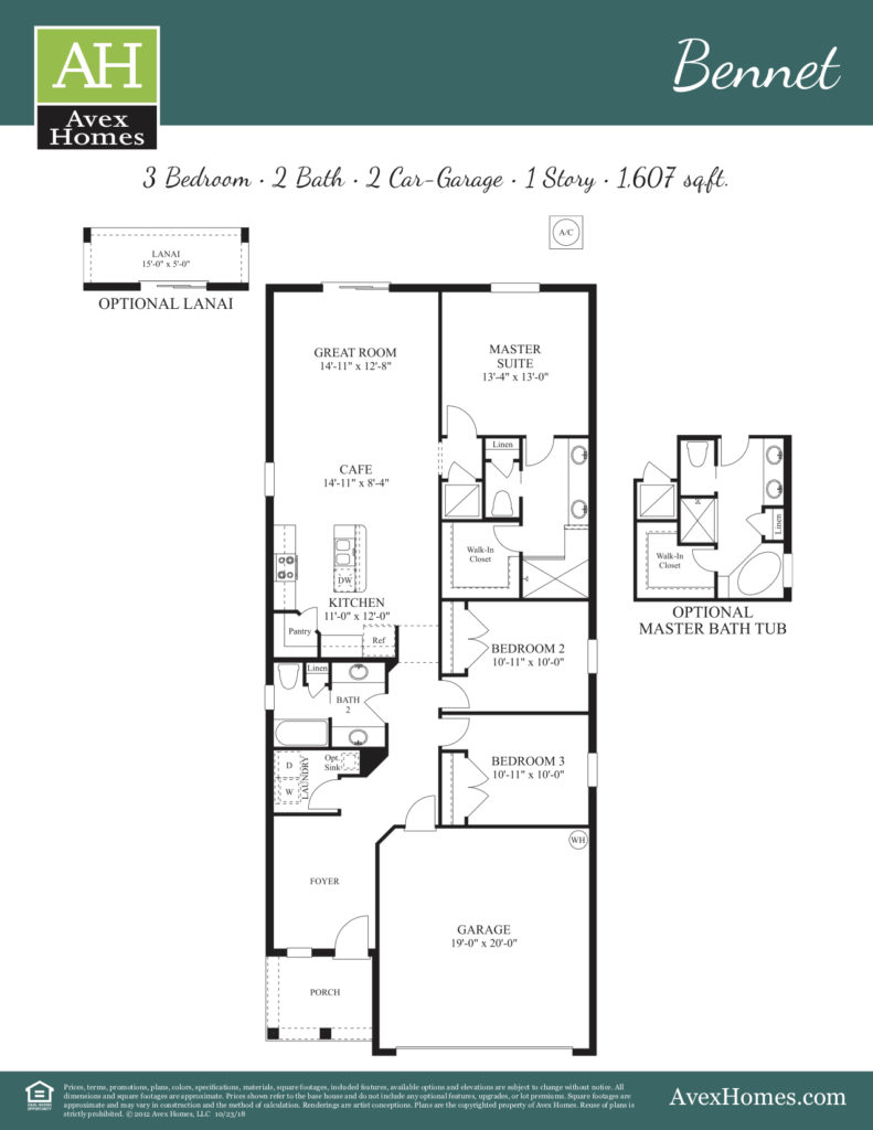 Details of home layout for the Bennet floor plan available at Ocoee Reserve exclusively by Avex Homes in Central Florida.