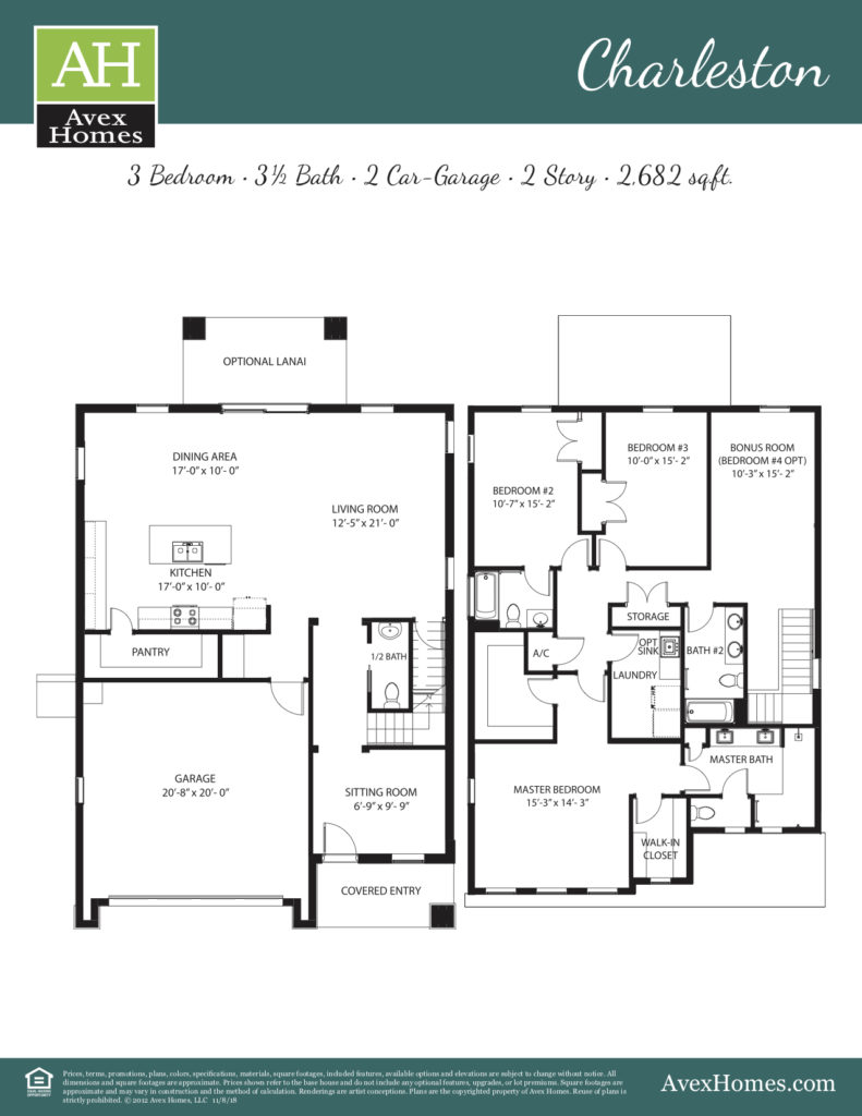 Floor plan of the Charleston home option at Greenville Commons; a new home community by Avex Homes in Casselberry FL.