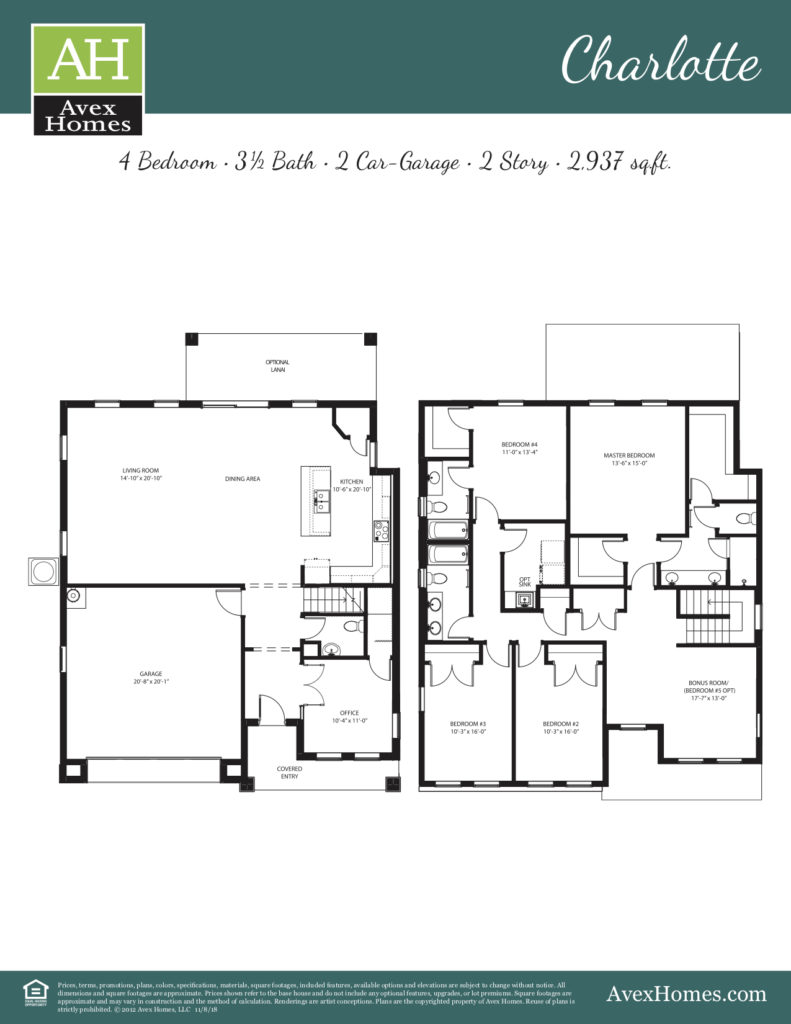 Charlotte floor plan rendering shown built as elevation A in Greenville Commons, an Avex Homes Community.