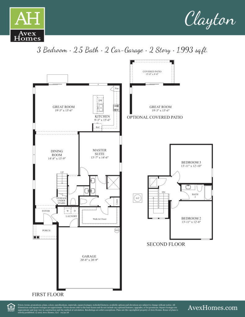 Architectural drawing of details of the Clayton floor plan that is an option at Ocoee Reserve community in Ocoee, FL.