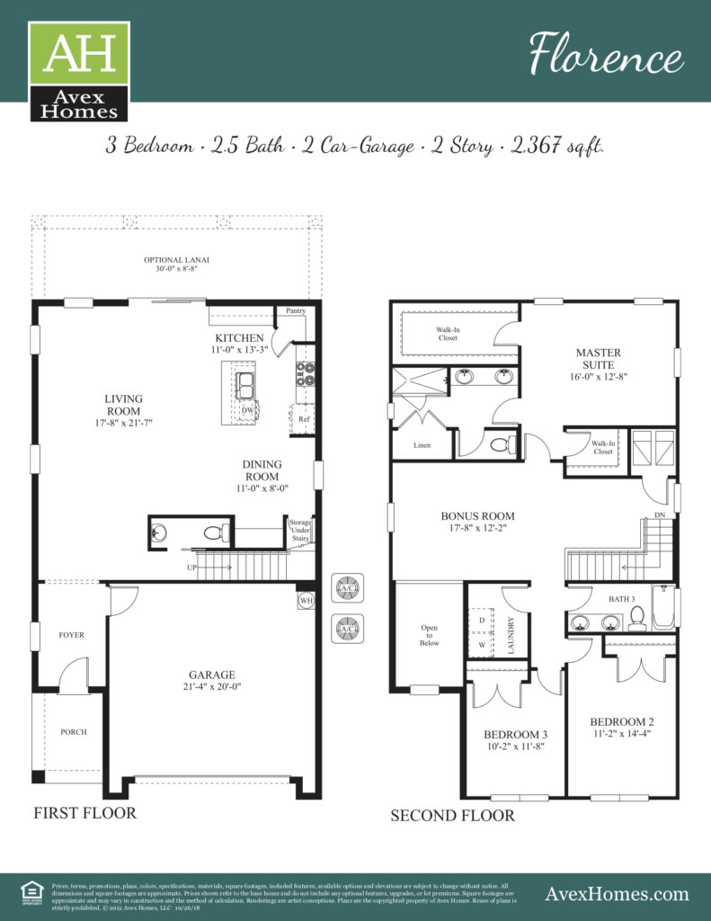 Details of rooms and options for the Florence floor plan available as a new home in the Ocoee Reserve community with Avex Homes.