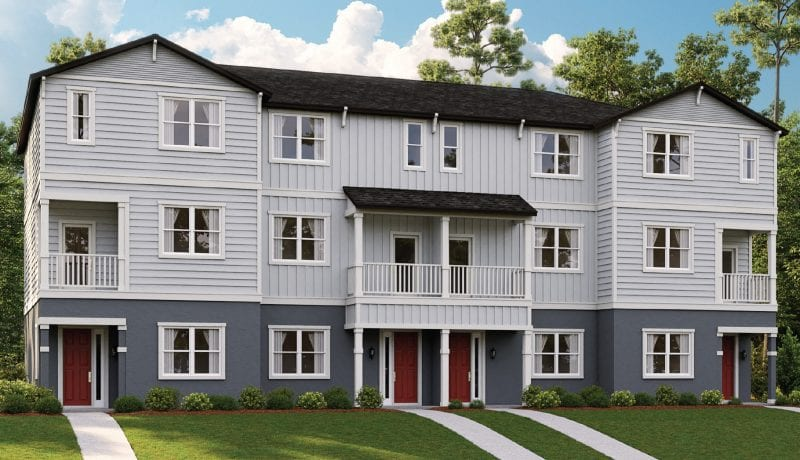 Three story townhome render of West Village at Avalon Park Orlando
